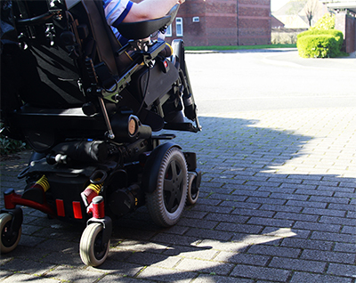 image of the back of a complex rehab power chair